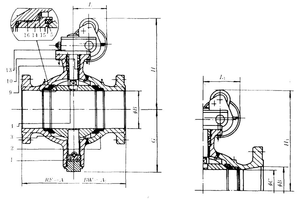 不锈钢高压片式球阀的结构图