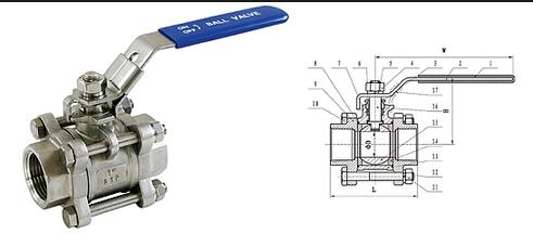 焊接式三片式球阀结构主要有螺栓连接体盖的球阀